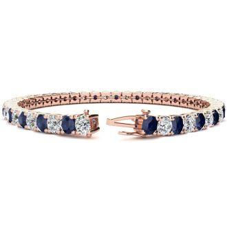 11 Carat Sapphire and Diamond Tennis Bracelet In 14 Karat Rose Gold, 7 Inches