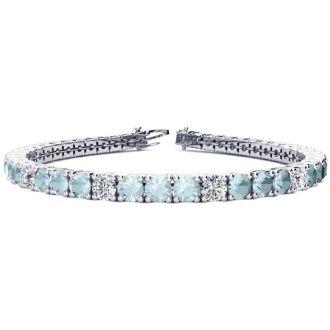 7 3/4 Carat Aquamarine and Diamond Alternating Tennis Bracelet In 14 Karat White Gold, 7 Inches