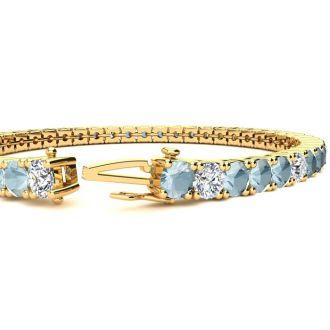 7 3/4 Carat Aquamarine and Diamond Alternating Tennis Bracelet In 14 Karat Yellow Gold, 7 Inches