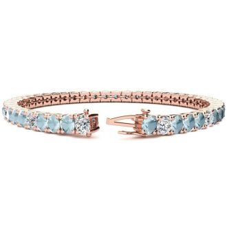 7 3/4 Carat Aquamarine and Diamond Alternating Tennis Bracelet In 14 Karat Rose Gold, 7 Inches