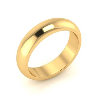 10K Yellow Gold 5MM Ladies and Mens Wedding Band, Size 6, Free Engraving