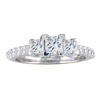 1ct Princess Cut Three Diamond Engagement Ring in 14k White Gold. H/I, SI2