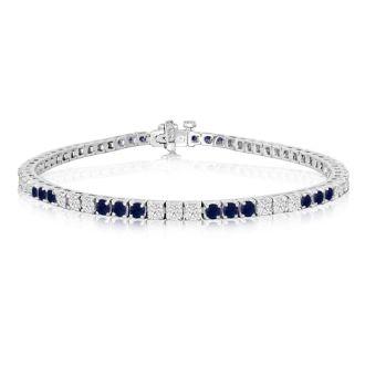 5 Carat Sapphire and Diamond Bracelet In 14 Karat White Gold