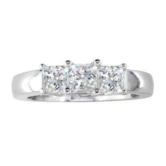 1/2ct Princess Three Diamond Ring in 14k White Gold