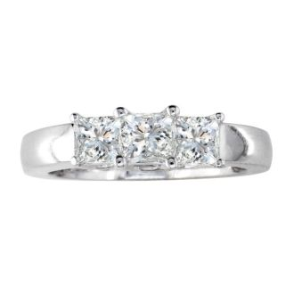 3/4ct Princess Three Diamond Ring in 14k White Gold