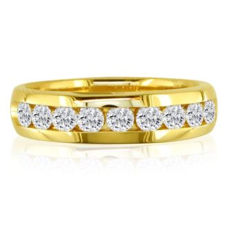 1/2ct Round Diamond Band in 14k Yellow Gold At A Fantastic Price!