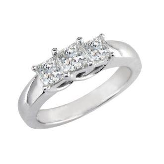 1.50ct Princess Three Diamond Ring in Platinum