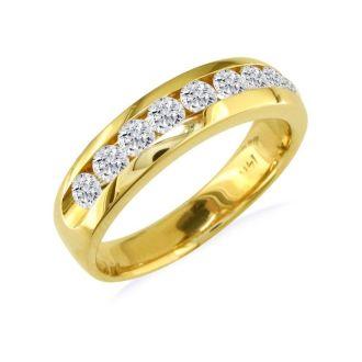 1ct Round Diamond Band in 14k Yellow Gold