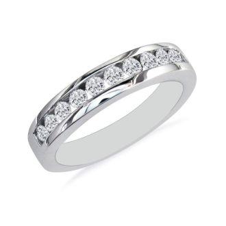 1/2ct Round Diamond Band in 10k White Gold