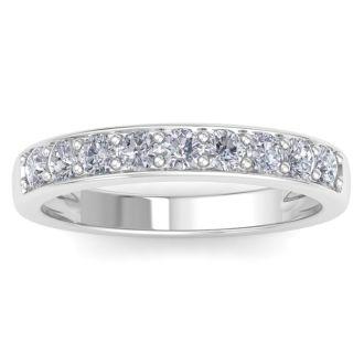 1/2ct Prong Set Diamond Band in 10k White Gold, 9 Diamonds!