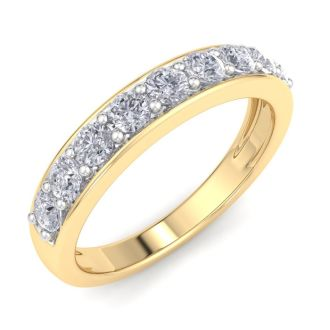 Very Popular 2/3ct Diamond Band in Yelloow Gold. Fiery, Natural Earth-Mined Diamonds. Ring Sizes 3.5 to 10.5 Available