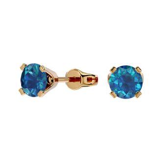 1/2 Carat Blue Diamond Stud Earrings In 14 Karat Yellow Gold