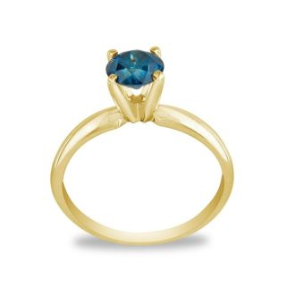 3/4 Carat Blue Diamond Solitaire Ring In 14K Yellow Gold