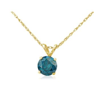 1/8ct Blue Diamond Pendant in 14k Yellow Gold