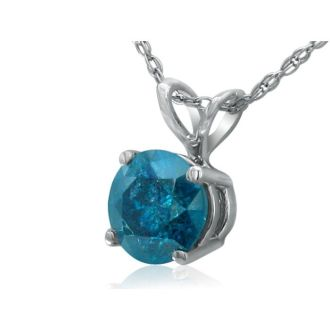 1CT Blue Diamond Pendant in 14k White Gold, CRAZY  DEAL!