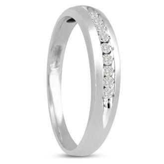 1/8ct Heavy Diamond Wedding Band in 14k White Gold