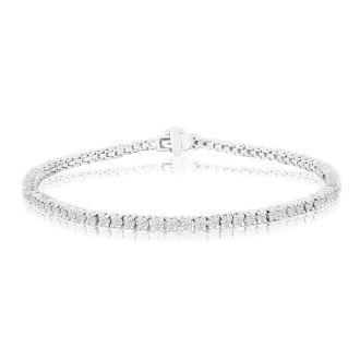 2.60 Carat Diamond Tennis Bracelet In 14 Karat White Gold, 9 Inches