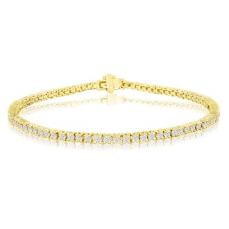 2.60 Carat diamond tennis bracelet In 14 Karat Yellow Gold, 9 Inches