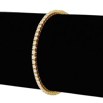 4 Carat Diamond Tennis Bracelet In 14 Karat Yellow Gold, 9 Inches
