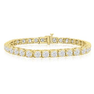 9 Carat Diamond Tennis Bracelet 7 inches yellow gold, 7 Inches