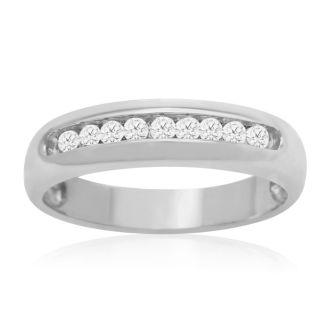 1/4ct Round Diamond Heavy Mens Wedding Band in 14k White Gold