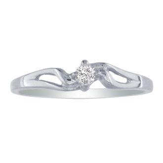Pretty Bypass Open Shank 10k White Gold Diamond Promise Ring