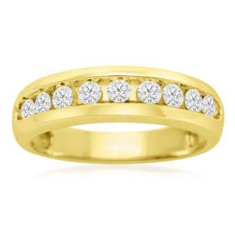 1/2ct Round Diamond Heavy Mens Wedding Band in 14k Yellow Gold, Size 8