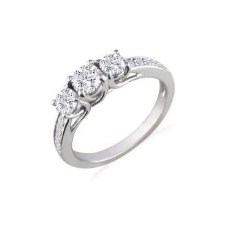 1 1/2ct Three Diamond Plus Engagement Ring, 14k White Gold