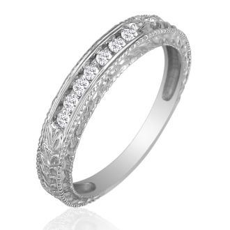 1/8ct Antique Style Diamond Band in 10k White Gold