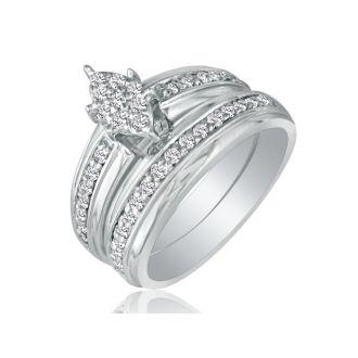 1/2ct Marquise Head Diamond Bridal Set in 10k White Gold