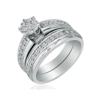 1/2ct Round Shaped Head Bridal Set in 10k White Gold