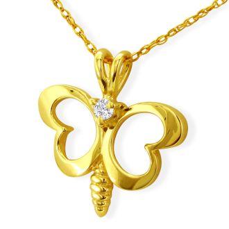Cute Diamond Butterfly Pendant in 10k Yellow Gold