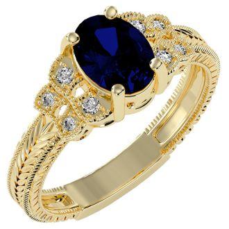 1 3/4 Carat Oval Shape Sapphire and Diamond Ring In 10 Karat Yellow Gold