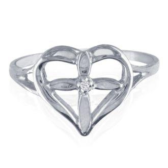 10k White Gold Filigree Diamond Cross Ring
