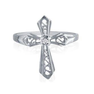 Diamond Cross Ring in White Gold