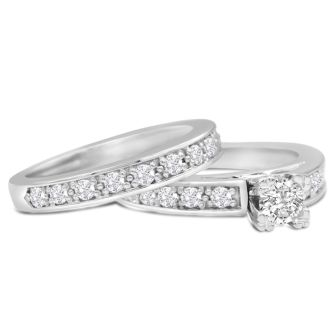 1ct Ladies Traditional Diamond Bridal Set, 14K White Gold