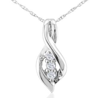 Three Diamond Swirl Pendant in 10k White Gold