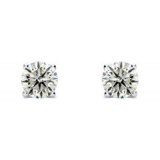 3/4 Carat Diamond Stud Earrings In 14 Karat White Gold