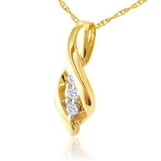 1/10ct Swirl Style Three Diamond Pendant in 10k Yellow Gold