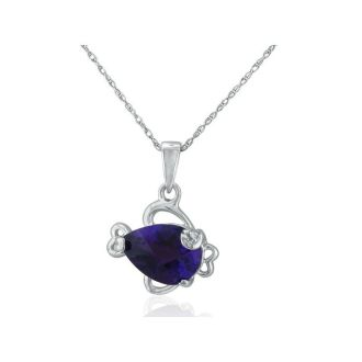 Amethyst and Diamond Fish Pendant in 10k White Gold