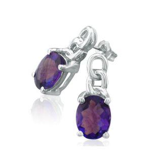 Open Chain Design 3ct Amethyst Earrings in 10k White Gold