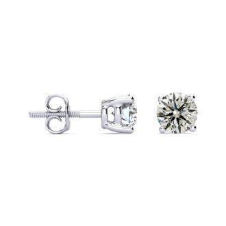 CLOSEOUT! 1 1/2 Carat Diamond Stud Earrings In 14 Karat White Gold, AGS Certified