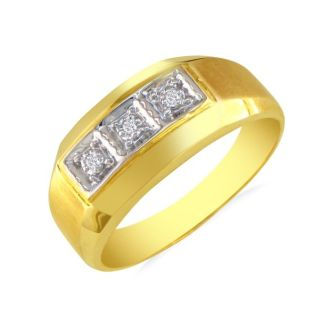 Classic Styled Men's Promise Ring with Three Diamonds 10k Yellow Gold