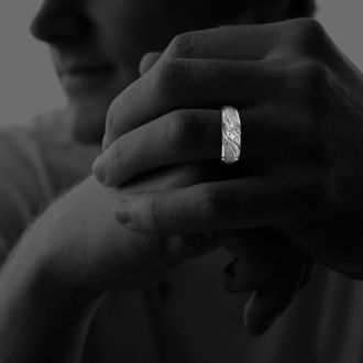 Men's Promise Ring with Three Diamonds in 10k White Gold