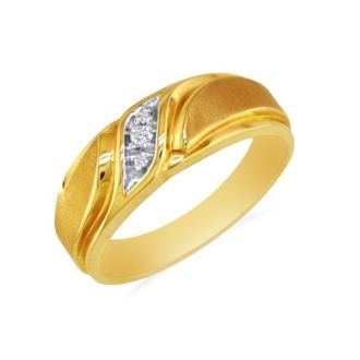 Men's Promise Ring with Three Diamonds in 10k Yellow Gold