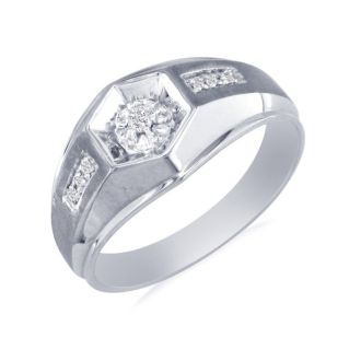 Mens Promise Ring with 7 Diamonds in 10k White Gold