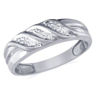 Men's Flowing Diamond Band in 10k White Gold