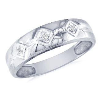 Mens Modern Diamond Band in 10k White Gold