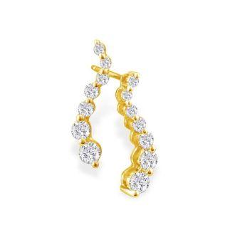 1/2ct Journey Diamond Earrings in 14k Yellow Gold