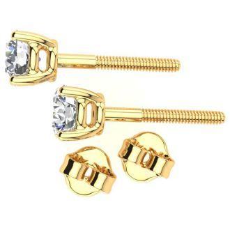 1/3 Carat Diamond Stud Earrings In 14 Karat Yellow Gold
